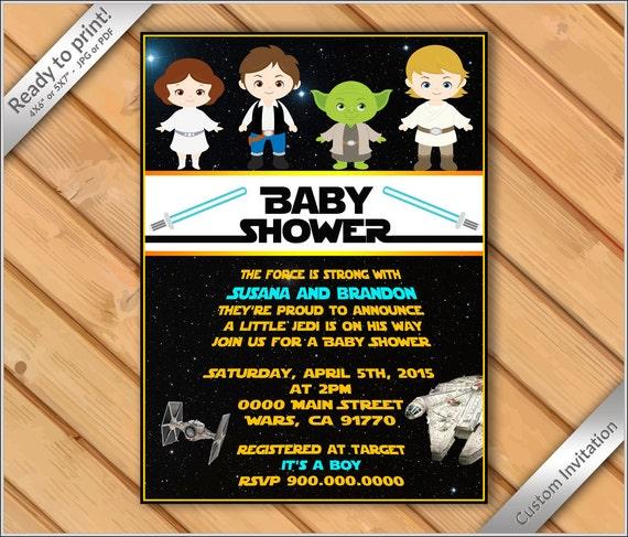 Personalized Invitation Baby Shower Star Wars Invitation Star Wars