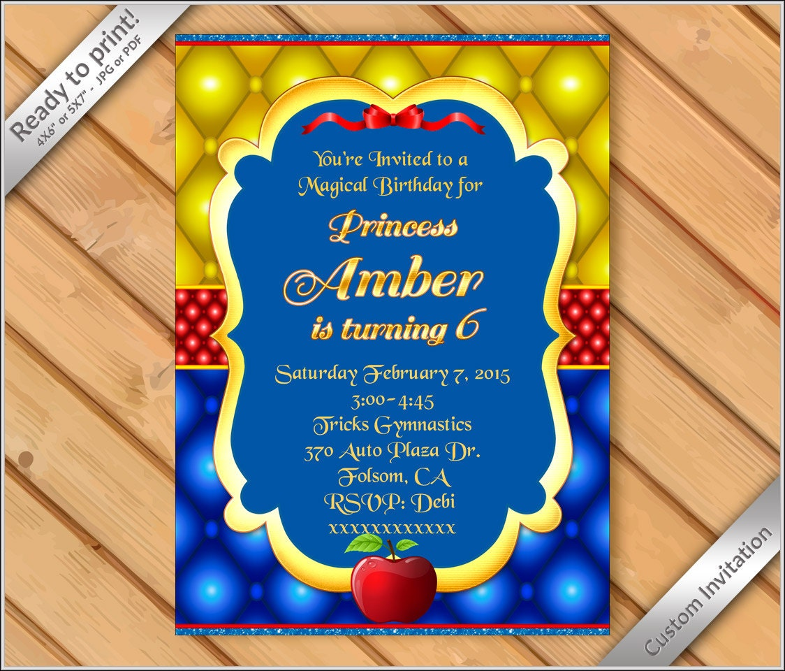 graphic regarding Snow White Invitations Printable known as 50% OFF SALE - Snow White princess birthday occasion invitation / Birthday Invites / Printable princess Snow White invitation #4