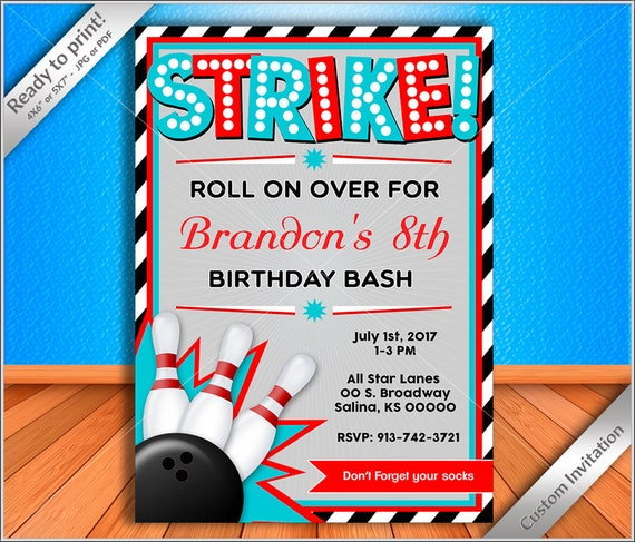 50 Off Personalized Invitation Bowling Birthday