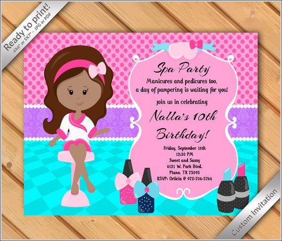 50 off sale spa party invitations for girls makeover or manicure