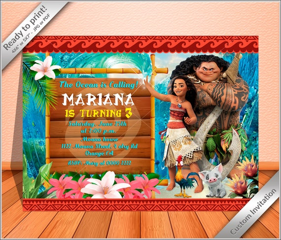 It is a graphic of Free Printable Luau Invitations throughout moana