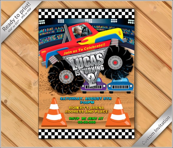 50 Off Personalized Invitation Monster Truck Photo Etsy