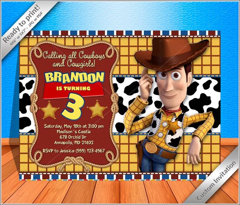0f8a81f97f951 50% OFF SALE Woody Cowboy Birthday Invitation Woody Toy
