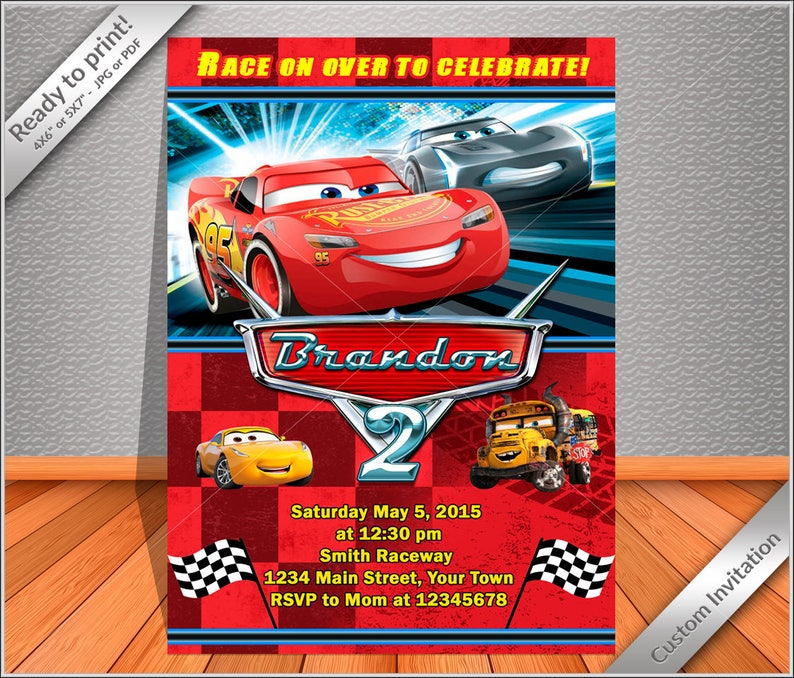 50 OFF SALE Cars Birthday Invitation The Lightning MCQUEEN