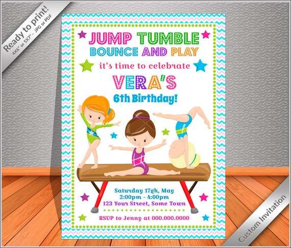 PERSONALIZED Invitation Gymnastics Birthday PARTY