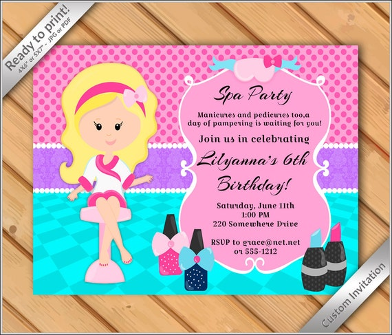 50 OFF SALE Spa Party Invitations For Girls Purple Makeover Or