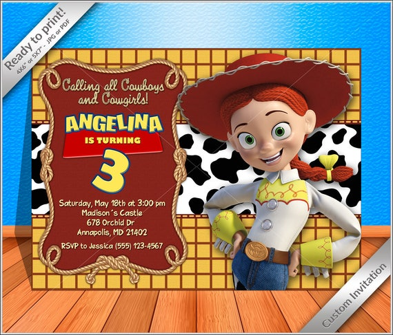 50% off - PERSONALIZED Jessie Cowgirl Birthday Invitation