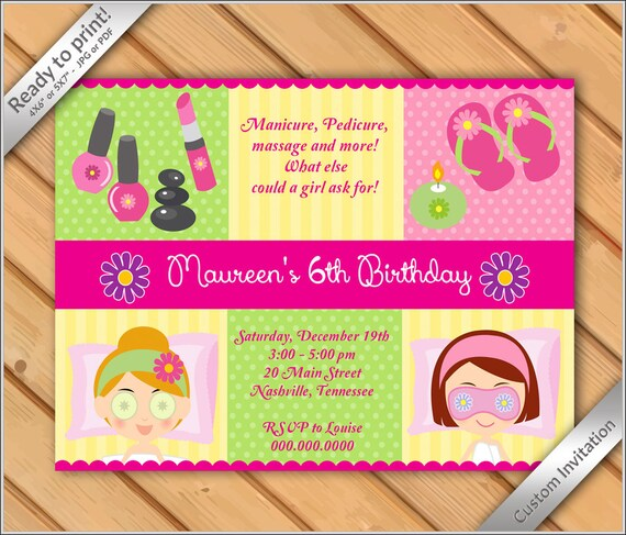 picture about Spa Party Printable named 50% OFF SALE - Spa Occasion Invites for Gals Makeover or