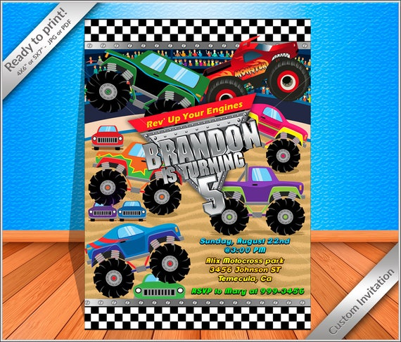 graphic about Monster Truck Birthday Invitations Free Printable identified as 50% OFF SALE - Monster Truck Invitation - Monster Truck