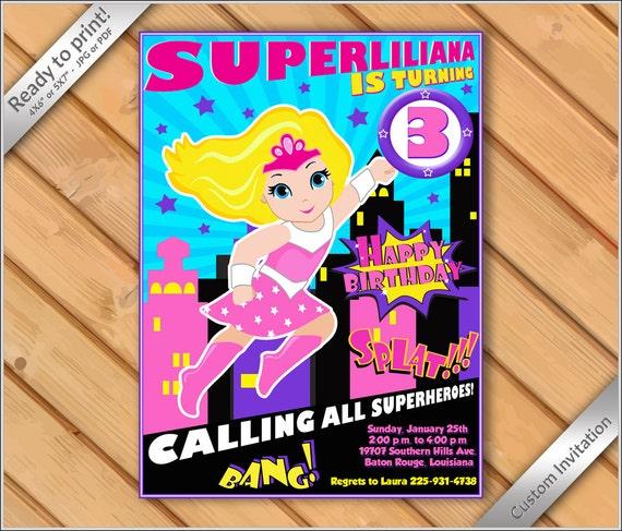 50 OFF SALE Printable Supergirl Invitation DIY Superhero Birthday Vintage Super Hero Invite Girl Blonde 2