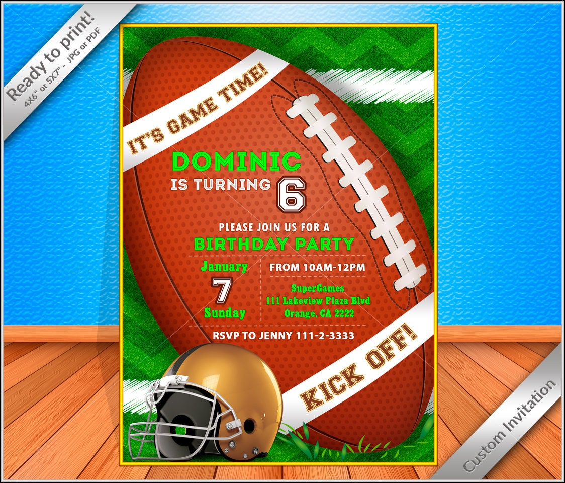 50% OFF SALE Custom digital printable Football birthday