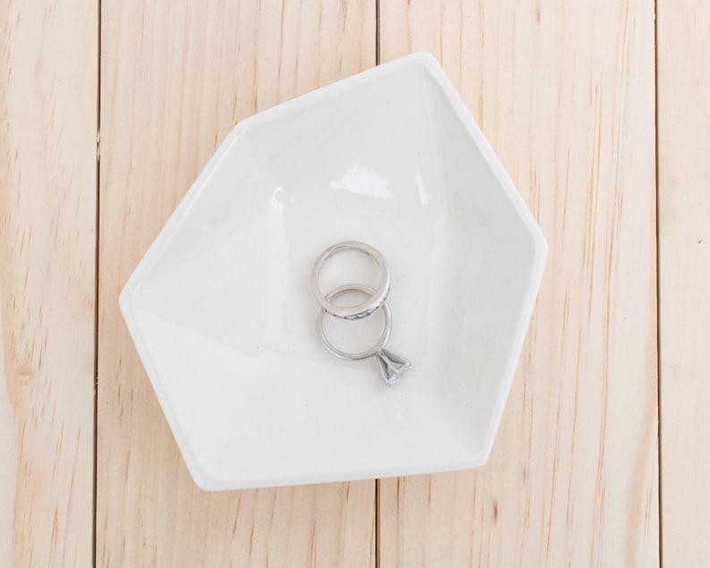 Large Geometric Ceramic Ring Dish  Individual  White image 0