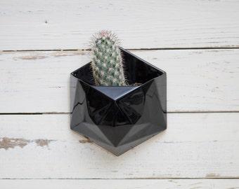 Black geometric hexagon ceramic wall hanging planter with wood back