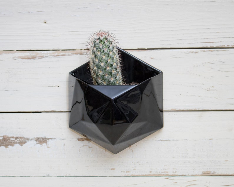 Black geometric hexagon ceramic wall hanging planter with wood image 0