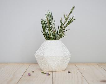 SECONDS SALE - Geometric ceramic short Bud Vase with white crawl glaze