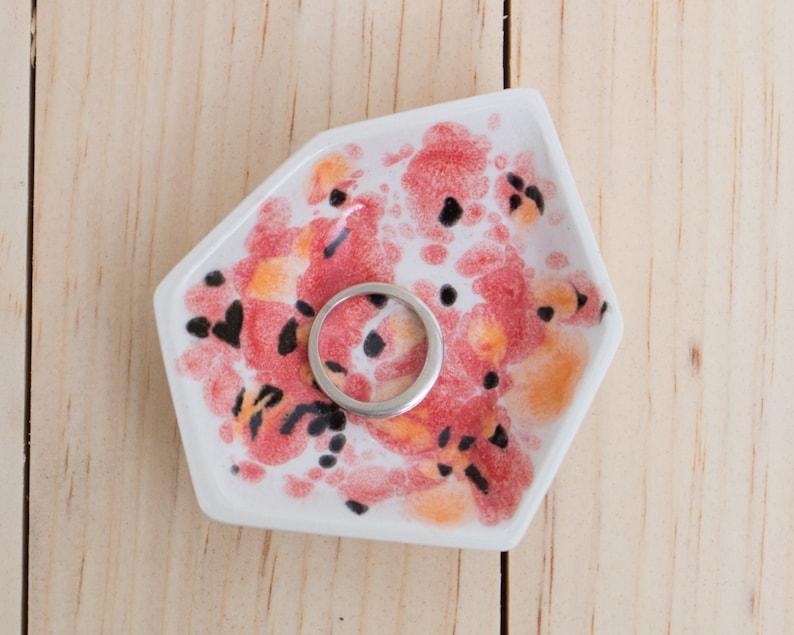Small Geometric Ceramic Ring Dish  Individual  Poppy image 0
