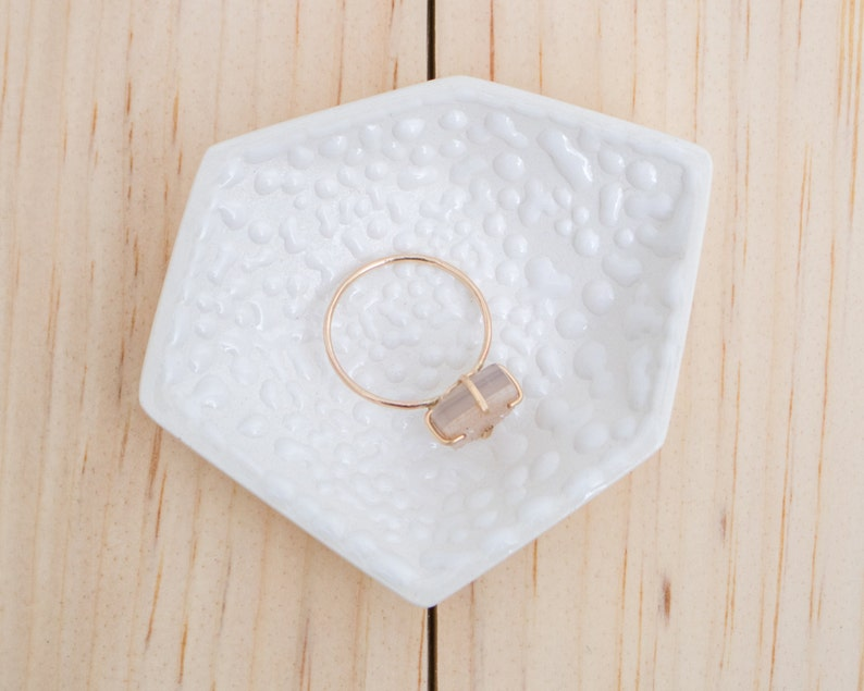 Small Geometric Ceramic Ring Dish  Individual  Crawl image 0