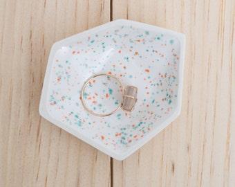 Small Geometric Ceramic Ring Dish - Individual - Sprinkles