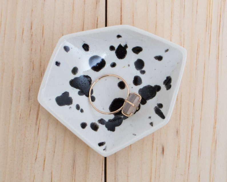 Small Geometric Ceramic Ring Dish  Individual  Ink Spots image 0