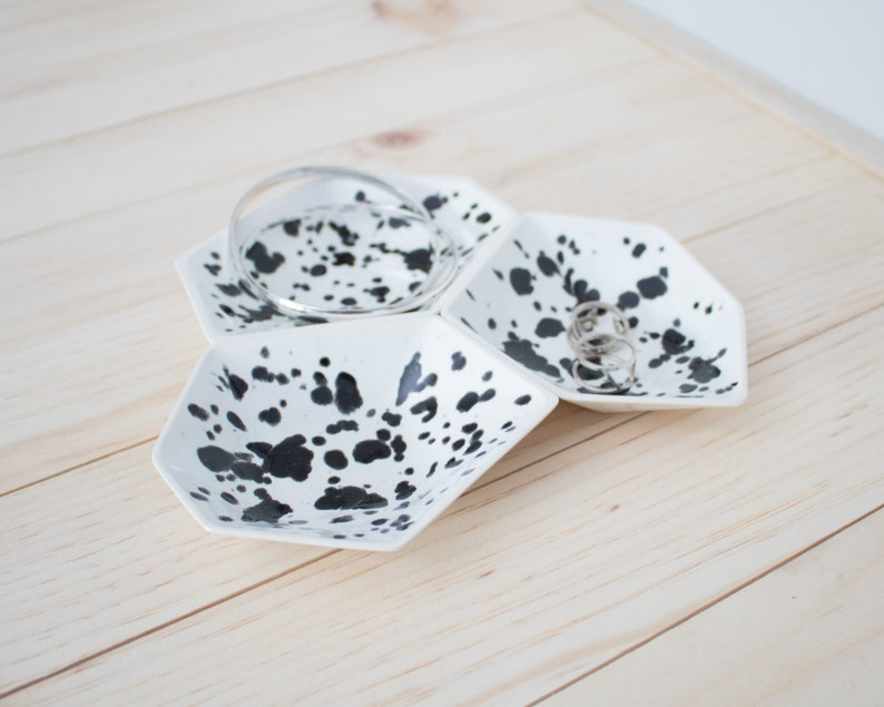 Large Geometric Ring Dish set of 3 in Ink Spots. image 0