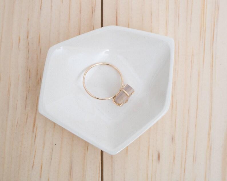 Small Geometric Ceramic Ring Dish  Individual  White image 0