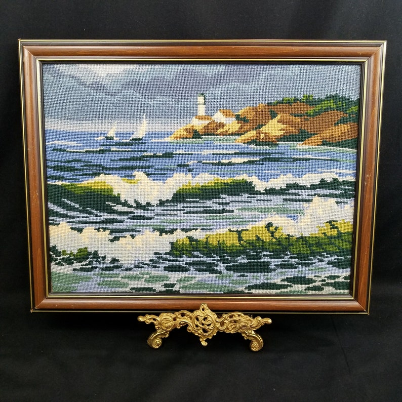 Vtg Needlepoint Handmade Seascape Completed Framed Needs Cleaning Sailboats  Lighthouse Seagulls 18 x 14