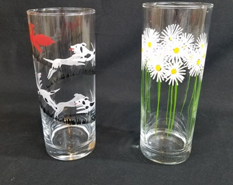 Vtg Iced Tea Glasses 12 oz Fox Hunt and Daisies Sold Individually