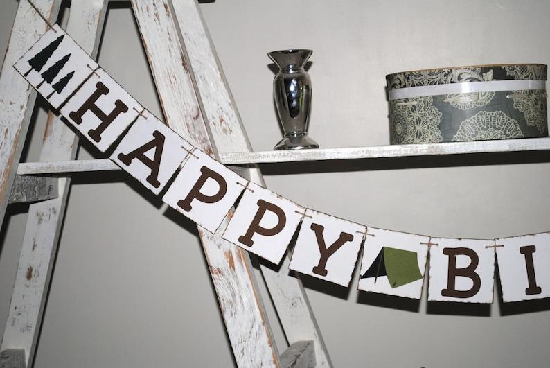Camping Theme Birthday Banner Happy Birthday Boy/'s Birthday Rustic