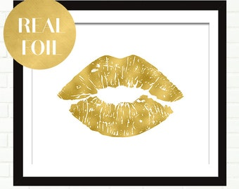Gold Lips Print, Poster, Real Gold Foil Art, Vanity Art, Wall Decor, Black and Gold, Glam Wall Art, Gold Wall Decor, Fashion Art, Wardrobe
