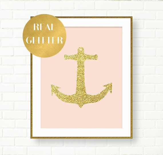 Gold Anchor Nautical Decor Blush Pink Gold Wall Art Print
