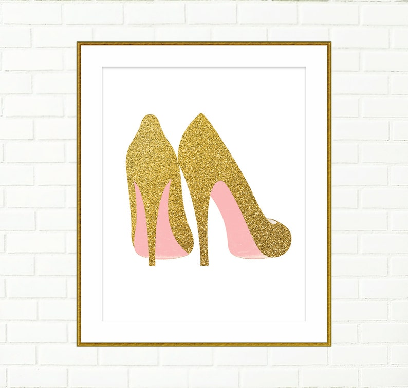 6991a27a734f1 Gold Shoes Print, Printable, Wall Decor Art, Poster, Fashion, Blush Pink  Gold, Glitter, Vanity Wall Art, High Heels Art, Instant Download