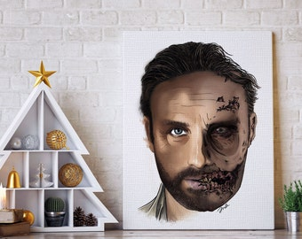 The Walking Dead Wall Art / Rick Grimes Art / TWA Art / Half Rick Grimes half Zombie / Original Drawing / Canvas Print