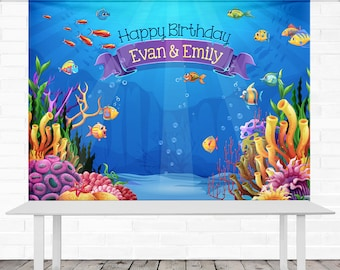 Under the Sea Birthday Backdrop - Personalized - 8' x 6' Vinyl Banner