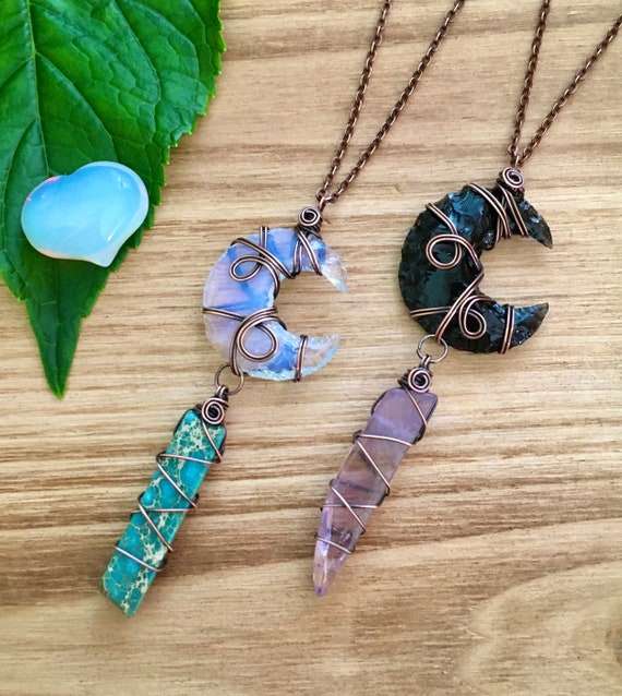 Handmade crescent moon charm necklace with wire wrapped crystal or amethyst blue aura quartz variety of crystal options; pink aura quartz