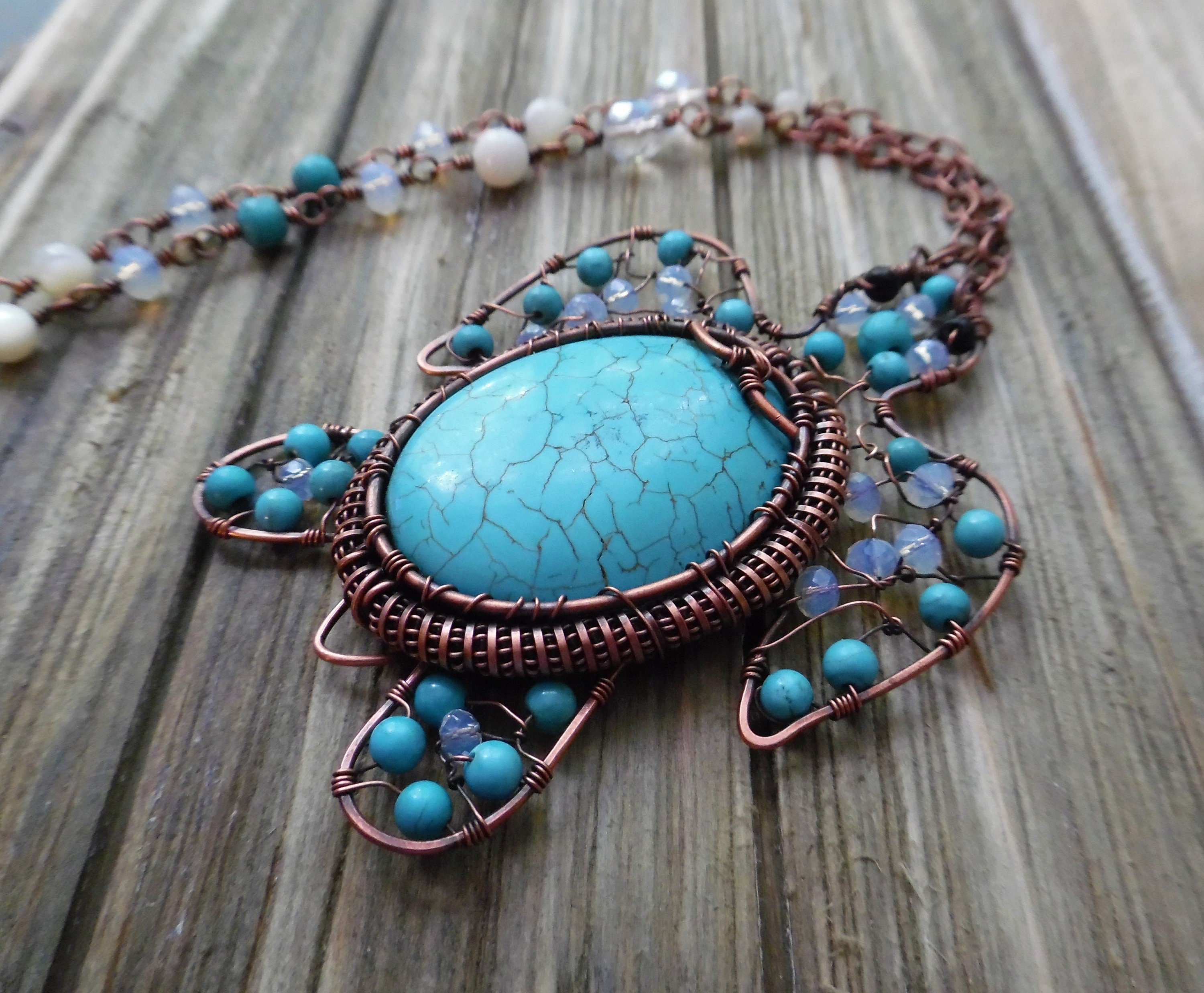 Wire Wrapped Turquoise Pendant, Turtle Necklace , Gemstone Pendant ...