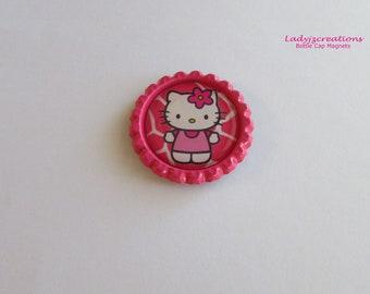 Hello Kitty Flattened Bottle Cap Magnet