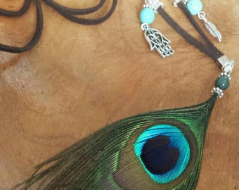 Necklace Peacock Feather made with gemstone Jade green or turquoise and charms.