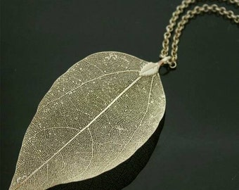 Real/ Natural/ Leaf/ Gold/ Silver/ Plated / Necklace/Bohamian / Unique