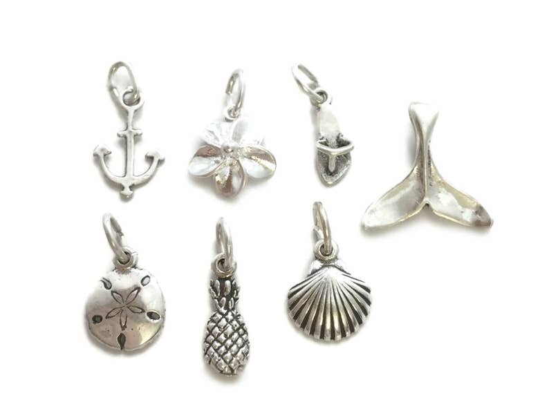 Single Charm Add On Pineapple Flip Flop Anchor Shell Sterling ...
