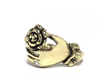 Limited Edition - Victorian Hand with Rose Ring - Choose Your Metal