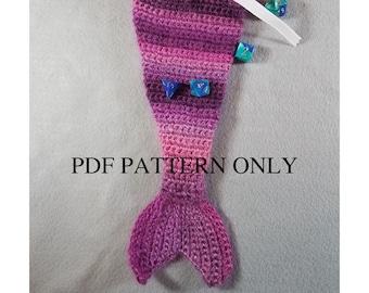 Crochet Pattern, Mermaid Dice Bag, Purse, PDF Download, Mermaid Tail, Crochet Bag, Pouch