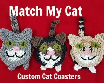 Match My Cat Coasters, Cat Butt Coasters, Cat Face, Set of 2 Coasters, Custom Order, Crochet Coaster, Cat Decor, Crazy Cat Lady, Gag Gift