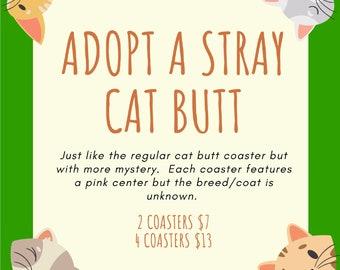 Cat Butt Coaster Mystert Set, Grab bag, random coasters, gag gift, joke gift, cat butts, cat, crazy cat lady