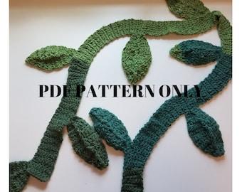 Jungle Vine Scarf, Crochet Pattern, PDF Download, Crochet Leaf, Scarf, Pattern