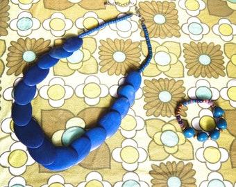 Blue beaded Jewelery set