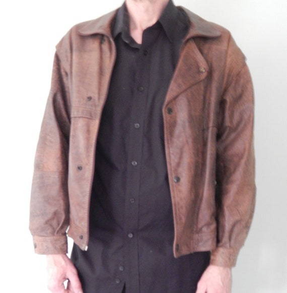 Men's/Vintage/1980's/Brown leather Jacket/Large