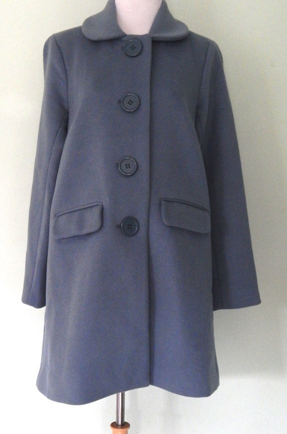 Vintage/90's does 60's/ Wool coat/ light blue/Size