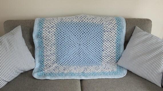 Häkeln Sie Kinderwagen Decke In Blau Weiss Junge Babydecke Etsy