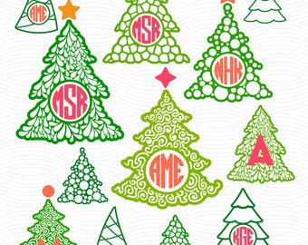 Christmas Tree Monogram Frames (SVG, EPS, DXF, Studio3) Cut File for use with Silhouette Studio, Cricut Design Space, Cutting Machines