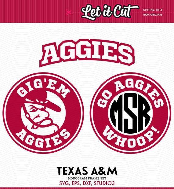 Texas Aggies Monogram Frames Svg Eps Dxf Studio3 Go Etsy
